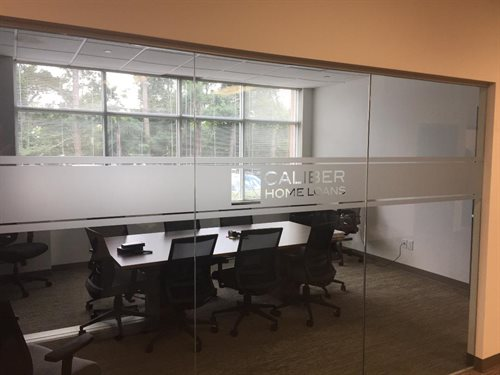 CALIBER HOME LOAN LOGO CONFERENCE ROOM GLASS ETCHED FROSTED GLASS MELVILLE