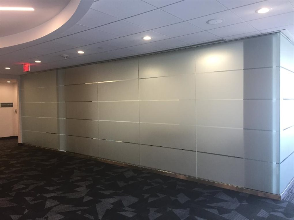 FROSTED ETCHED GLASS CONFERENCE ROOM WALL, INSTALLED VILLAGE OF ISLANDIA, HAUPPAUGE, SUFFOLK COUNTY, NEW YORK,  TOWN OF ISLIP SMITHTOWN
