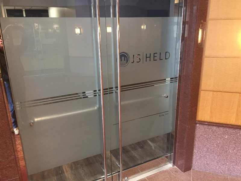 JS HELD ETCHED FROSTED GLASS LOGO AND STRIPS INSTALLED, JERICHO QUADRANGLE TOWN OF OYSTER BAY NASSAU COUNTY NEW YORK
